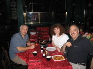Josh, Carol and Art eating Kosher Chinese in Tel Aviv